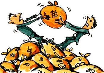 Нарисованные бизнесмены делят мешок с деньгами