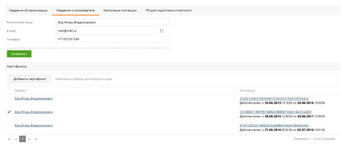 Профиль пользователя – вкладка «Сведения о пользователе»
