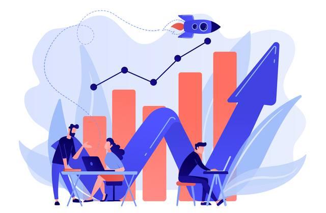 Нарисованные бизнесмены на фоне графика продаж и летящей ракеты